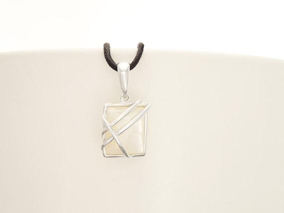 Small, Pendant, MOP, Silver, Pendant, Square, 925, Sterling Silver, Modern Style, Filigree, Trending, Original, Unique, Jewelry, Gift X Mas.