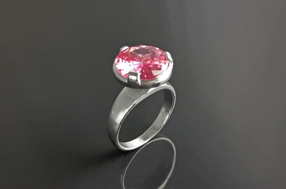 Pink stone stacking ring, sterling silver, original modern solitaire ring, pink diamond simulant (Cz), stack with wedding and other rings