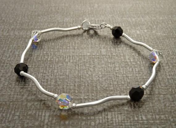 Black and White, Sterling Silver 925, Minimalist Bracelet, Beaded Bracelet. Women Jewelry. Casual Bracelet - All Day Jewelry, Fashion.