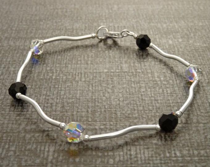 Black and White Bracelet, Sterling Silver, Minimalist Bracelet, Beaded Bracelet, Cristal  Jewelry, Women