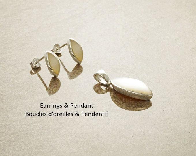 White Oval Earrings Set, Sterling Silver, Almond Shape, White Mother of Pearl Shell Pendant, Dainty Stud Earrings, Modern Minimalist Design