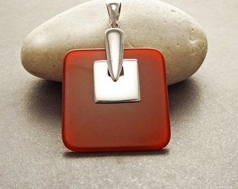 Red Square Pendant, Sterling Silver, Modern Genuine Red agate Gemstone, Minimalist Designer Stone Pendant, Geometric Design Stone Jewelry