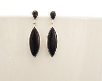 Black Dangle Earrings - Sterling Silver, Oval Almond Shape Onyx Stone, Bright Black Stones Drop Earrings, Modern Geometric Jewelry