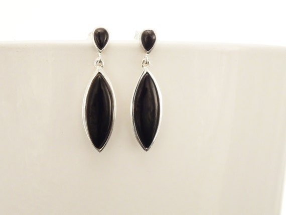 Black Dangle Earrings - Sterling Silver Earrings, Black  Earrings, Almond Shape, Bright Black  Earrings, Dainty Earrings, Black  Jewelry.