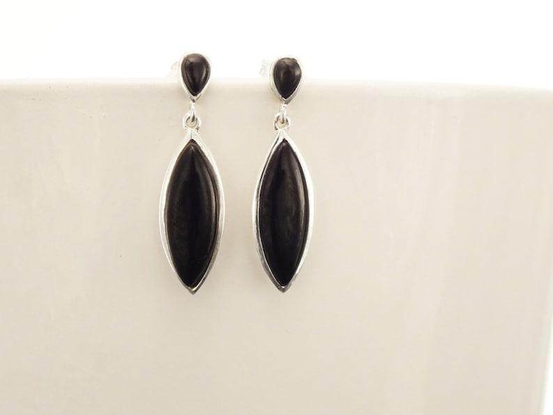 Black Dangle Earrings  Sterling Silver Oval Almond Shape image 0
