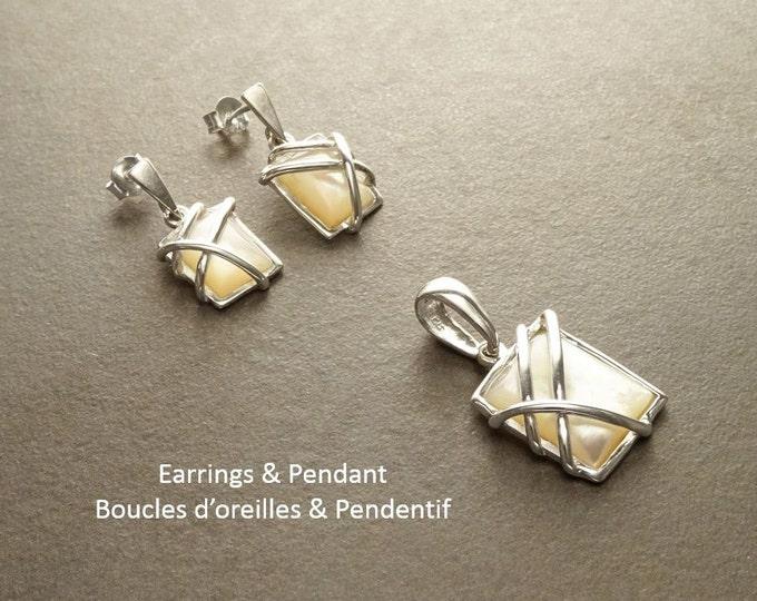 Square Earrings - Square shape - 925 Sterling Silver - White Shell - Modern Style - Filigree - Trending - Boho - Earrings ands Pendant Set.