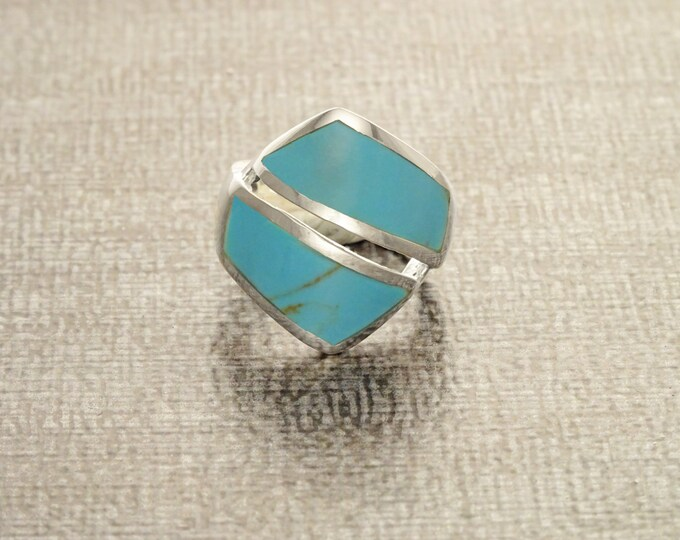 Blue Turquoise Ring - Sterling Silver - Turquoise Bypass Ring - Gemstone Crossing Ring - Turquoise Stone Ring - Framed Ring - Original Ring