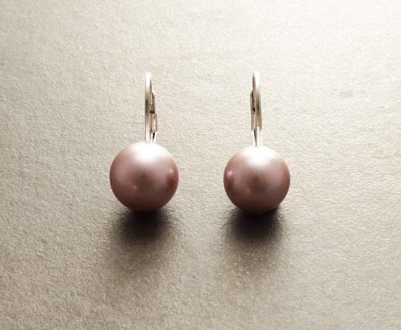10 mm GENUINE Purple Shell Pearl Earrings, Sterling Silver, Lever Back Earrings, Minimalist, Pearl Jewelry, Prom, Wedding, Bridesmaids Gifts