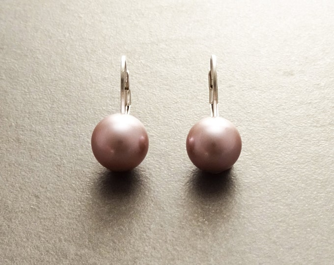 Purple Earrings, Sterling Silver, GENUINE Shell Pearl Jewelry, Lever Back Earrings, Minimalist 10 mm Balls, Prom, Wedding, Bridesmaids Gifts