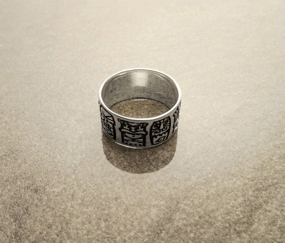 Sterling Silver Band Ring,  with Black engraved Hawaiian Tikis Pattern. Unique Handmade Thumb Ring. Tribal Style Band Ring.