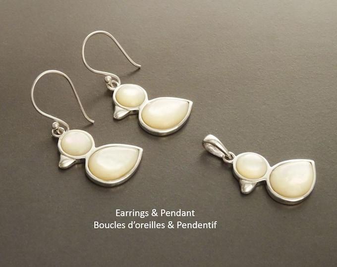 Duck Earrings, Sterling Silver, Animal, Earrings Set, genuine White Mother-of Pearl Shell, Bird Earrings Set, Cute birdy Pendant