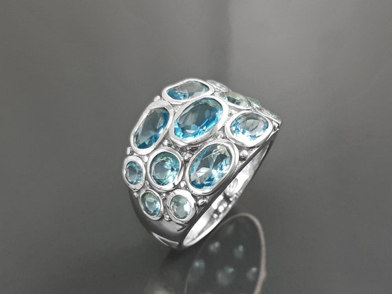 Topaz Blue Color Ring, Sterling Silver Ring, Intricate Boho Design, Oval shape Stone, Antique Ring, Unique Boho Ring,