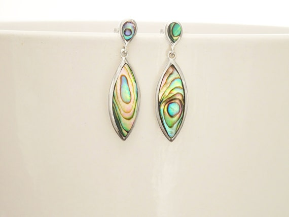 Paua Shell Earrings, Paua Shell Jewelry, Abalone Earrings, Paua Earrings, Minimalist Dangle Earrings, Green Color with Rainbow Highlights