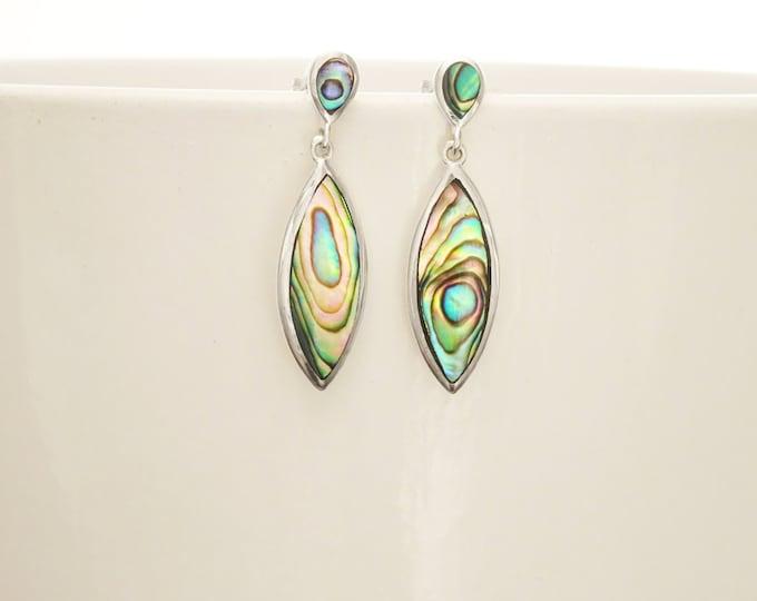 Paua Shell Earrings, Paua Shell Jewelry, Abalone Earrings, Paua Earrings, Minimalist Dangle Earrings, Green Color with Rainbow Highlights