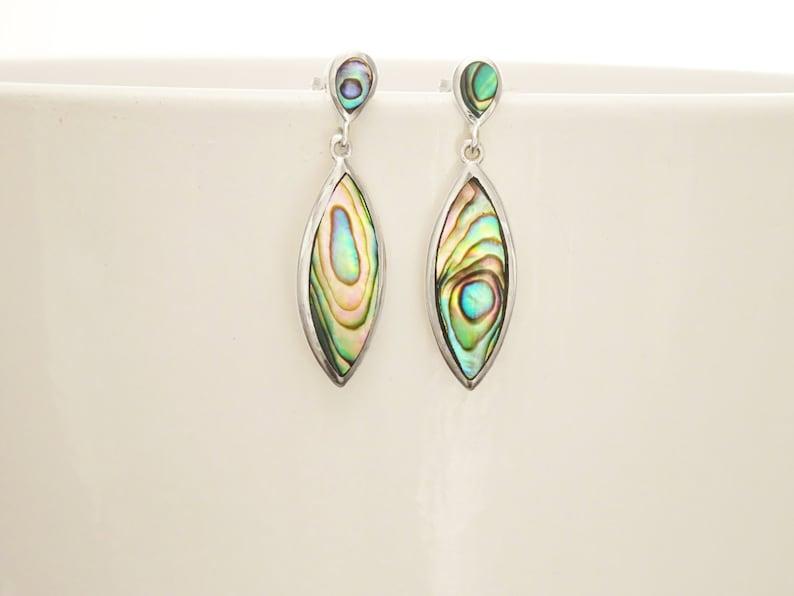 Paua Shell Earrings Paua Shell Jewelry Abalone Earrings image 0