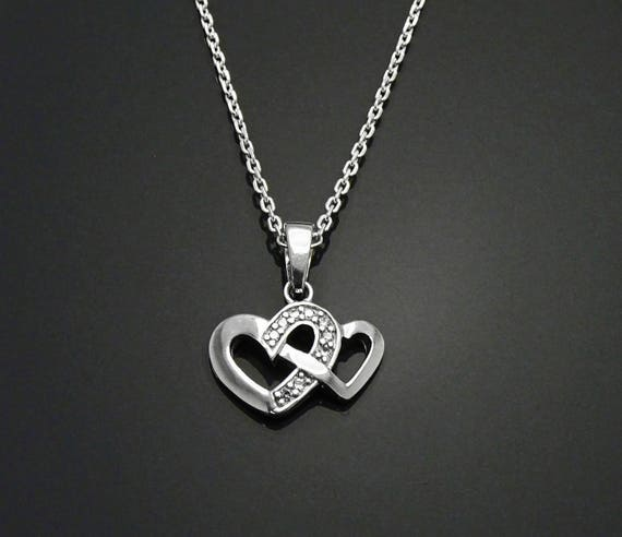 Dainty Double Hearts Necklace, Sterling Silver, Lab Diamonds Simulant, Crossing Heart Charm, Love Jewelry, Valentine's Day Gifts