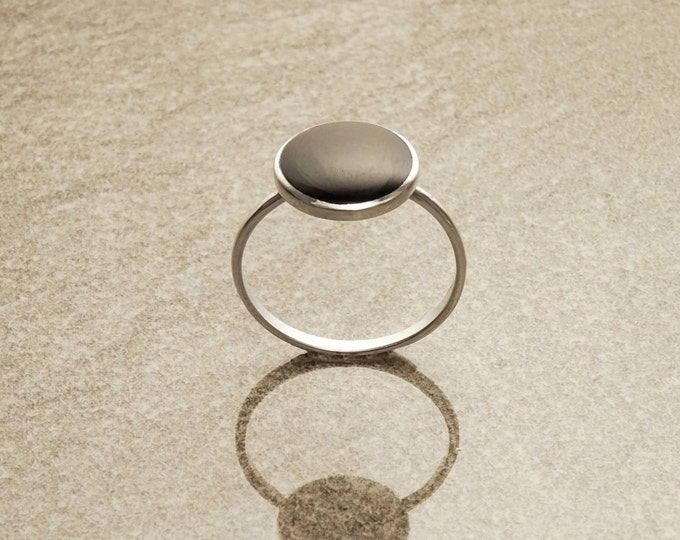 Stacking Silver Ring - Sterling Silver Ring - Round Ring - Black Onyx Gemstone  - Small Ring - Affordable Ring - Stone Ring - Dainty Ring