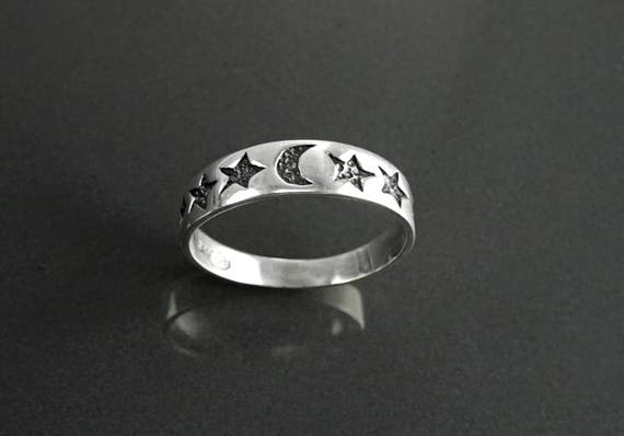 Moon Stars Band Ring, Sterling Silver, Crescent Moon, Twinkle Cluster of Stars, Starry Constellation Jewelry, Nebula Ring, Shooting Star
