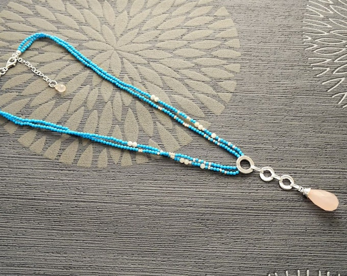 Boho Turquoise Necklace, Sterling Silver Made, Rose Quartz Gemstone Pendant, Blue Turquoise Stone Jewelry, Unique Lariat Necklace