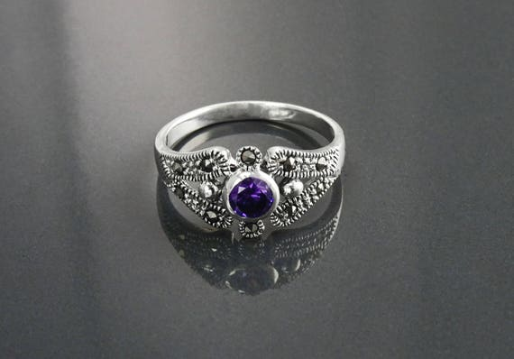 Amethyst Marcasite Ring, Sterling Silver, Vintage Ring, Lab Purple Amethyst Simulant, Retro Violet Stone Rings, Dainty Rings, Women Gifts