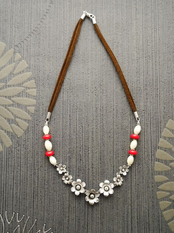 Boho Necklace Silver, Statement, Brown, Leather Necklace, with, Sterling Silver, Flower, engraved Pendant, Pearl, Red Jasper, Beads