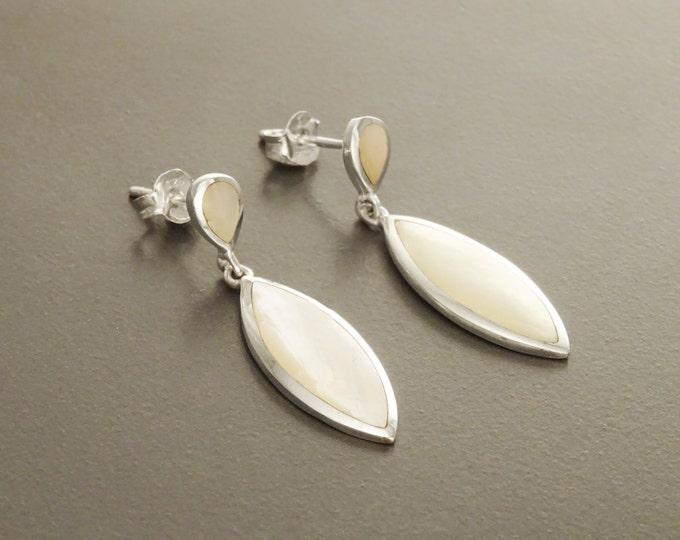 White Oval Earrings, Sterling Silver, Bright Mother of Pearl Shell Earrings, Oval Stone Dangle Earrings, Geometric Jewelry