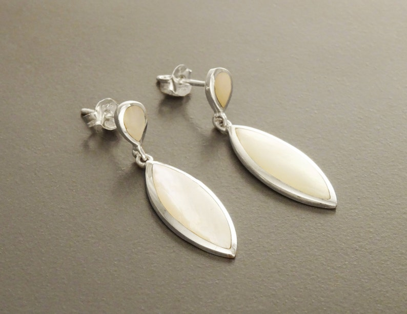 White Oval Earrings Sterling Silver Bright Mother of Pearl image 0
