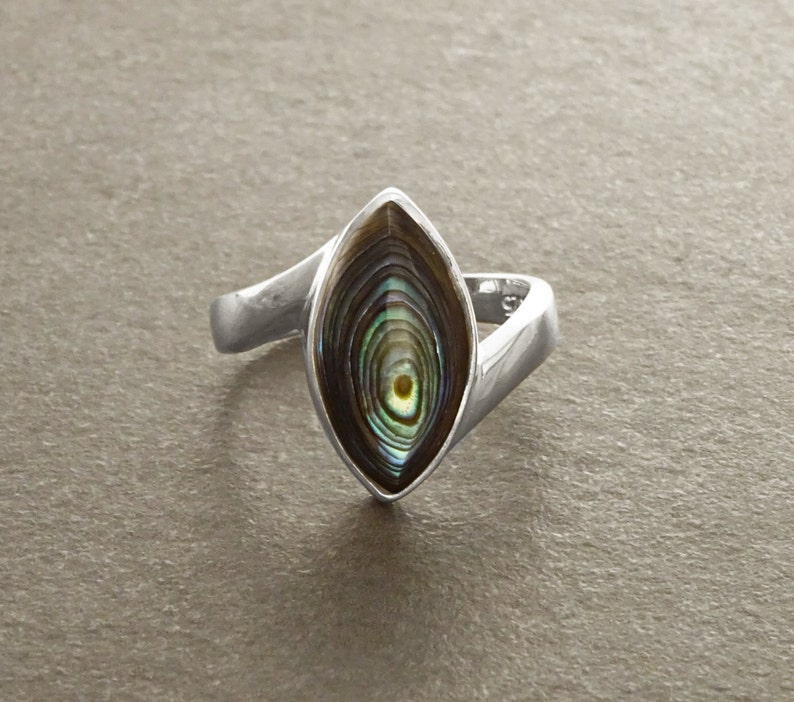 Abalone Bypass Ring  Paua Shell Ring Sterling Silver Oval image 0