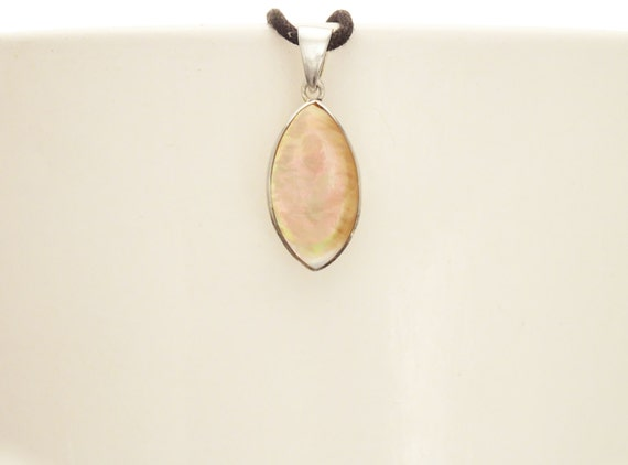 GENUINE Brown Paua Shell Pendant, Sterling Silver, Diamond Shape, Pearl Iridescent Rainbow Highlights, Geometric Modern Minimalist Pendant