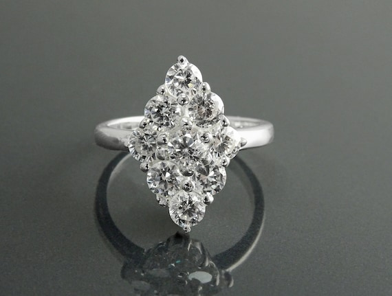 Diamond Shape Marquise Ring, Sterling Silver, Lab Diamonds Simulant (CZ) Stones, Cocktail Jewelry, Woman Ring, Valentines Day Gift