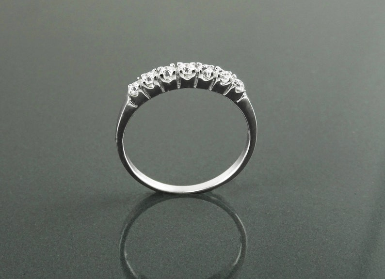 Half Eternity Ring Sterling Silver Stacking Third Eternity image 0