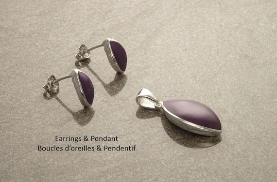 Purple Minimalist Set - Sterling Silver Set - Almond Shape - Stud set - Purple Stone Set - Dainty set - Post Set - Vintage style. Design .