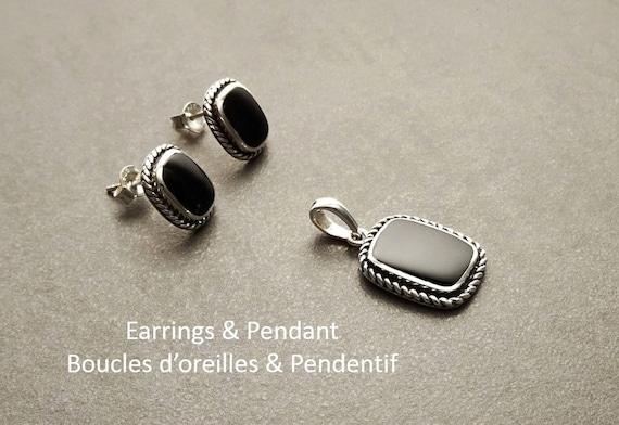 Onyx Earrings and Pendant Set - Sterling Silver 925 - Onyx Jewelry - Oxidized - Square shape - Onyx Stud Earrings - Tribal - Rock - Black.