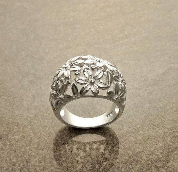 Daisy Flower Ring, Sterling Silver, Daisies Band Ring, Flower Filigree Ring, Blossom Floral Ring, Spring Summer Bloom Ring, Nature Jewelry