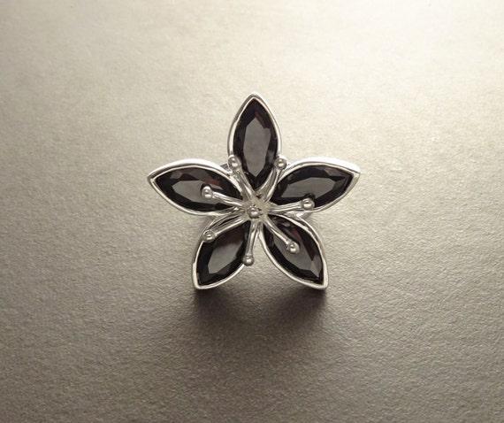 Black Flower Ring - Blossom Ring - Statement Sterling Silver - Flower Pattern - Zirconia Ring - Boho Ring - Cocktail Ring - Black Color