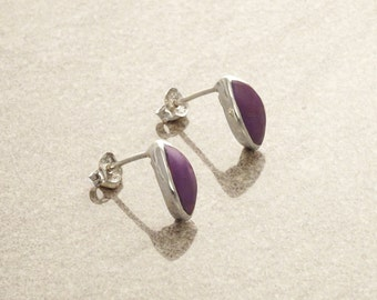 Purple Oval Earrings, Sterling Silver Pendant, Almond Oval Shape Stone, Modern Minimalist Violet Jewelry, Geometric Pointed Stone Studs