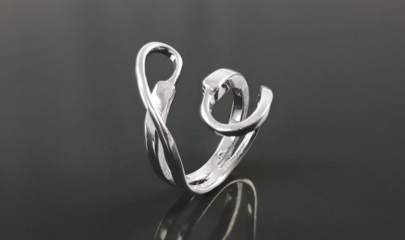 Infinity Bypass Ring, Sterling Silver Ring, Original Knot Ring, Unique Ring, Infinity Knot Ring, Adjustable Ring, Wrap ring, Open Ring