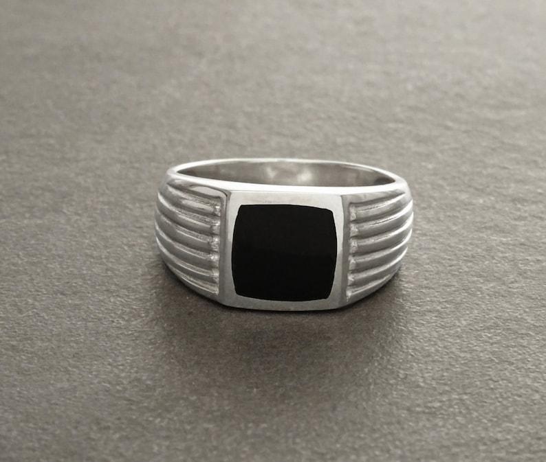 Man Signet Ring Men Sterling Silver Jewelry Black Onyx image 0