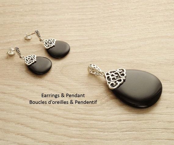 Onyx Earrings Set - Sterling Silver - Filigree - Earrings and Pendant - Black Onyx Gemstone - Teardrop - Boho Jewelry - Vintage Style - Gift
