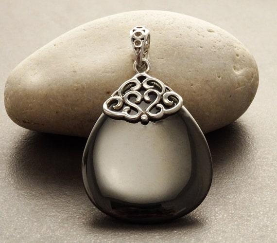 Hematite Silver Pendant - Sterling Silver - Filigree Pendant - Grey - Hematite - Boho Pendant - Vintage pendant - shabby chic pendant