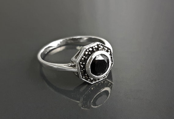 Vintage black ring, sterling silver octagonal marcasite dainty jewelry cz zirconium retro dark design stone rings women gifts