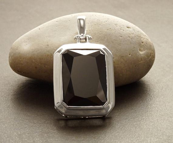 Oversized Black Pendant - Sterling Silver 925, Rectangle Pendant, Black Diamond Color, Black Zirconia, Fine Jewelry, Retro Statement Pendant