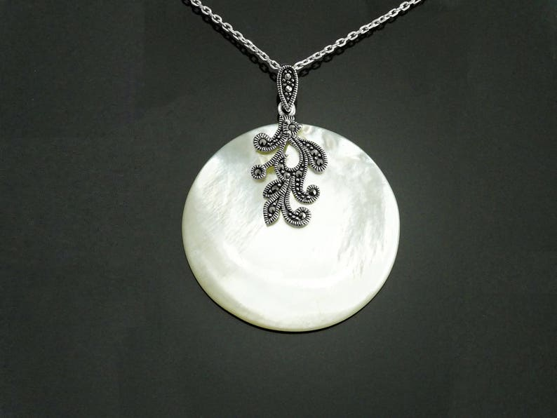 White Round Necklace Sterling Silver Mother of Pearl Shell image 0
