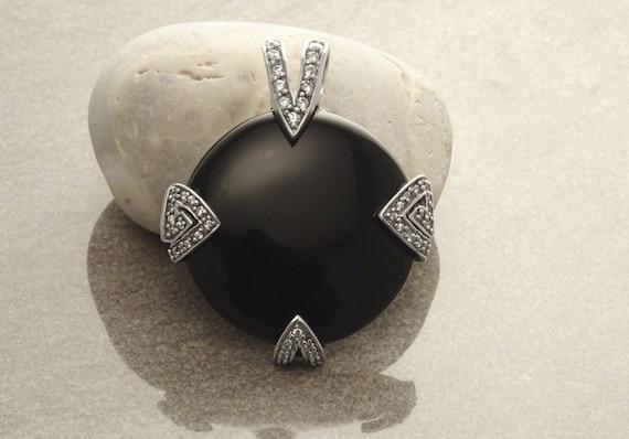 Onyx Statement Pendant, Sterling Silver, Black Onyx Gemstone, Retro Designer Jewelry, Art Deco Round Pendant, Cocktail Necklace,Vintage Gift