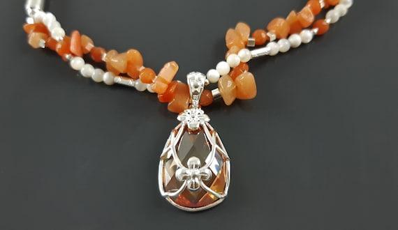 NATURAL Agate Choker Necklace, Sterling Silver, Orange Agate Gemstones, Pearls Strands, Lab Orange Sapphire, Flower Pendant, Stingray Collar