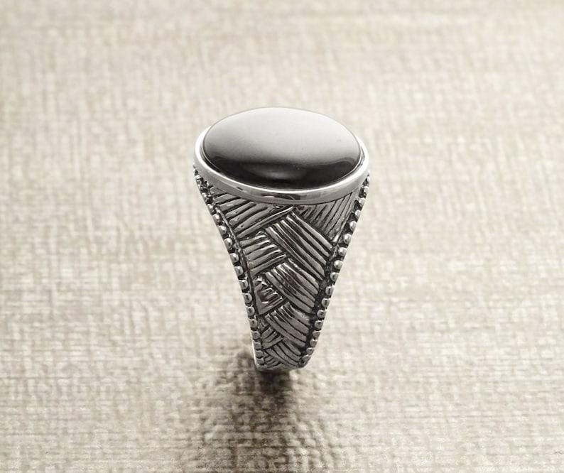 Men Ring Sterling Silver Ethnic Tribal Ring Mesh Ring image 0