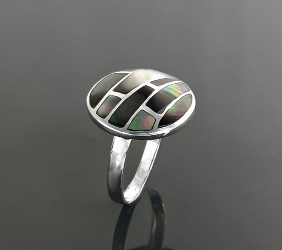 Round Mosaic Ring, Sterling Silver, Natural Gray Paua Shell with Genuine Onyx Stone in a Modern Geometric Design