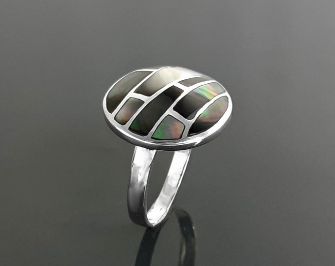 Gray Round Ring, Sterling Silver, Natural Grey Paua Shell with Genuine Dark Onyx Stone in a Modern Geometric Mosaic Stone Design Jewelry