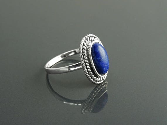 Antique Lapis Ring, Sterling Silver 925, GENUINE Lapis Lazuli Jewelry, Dainty Oval Bleue Lapis Stone Ring, Vintage Rope Textured Border Ring