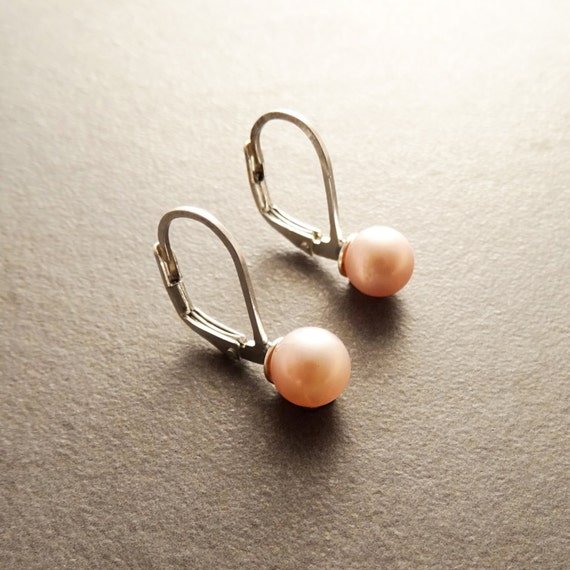 6 mm GENUINE Pink Shell Pearl Earrings, Sterling Silver, Lever Back Earrings, Minimalist, Pearl Jewelry, Prom, Wedding, Bridesmaids Gifts